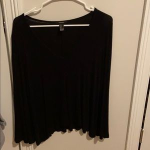Forever 21, black, long sleeve, v neck shirt